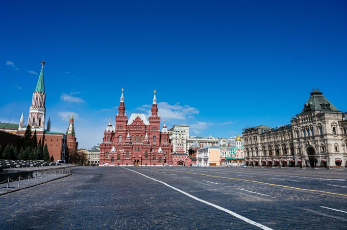 A view of the deserted Red Square, the State Historical Museum and the GUM department store in downtown Moscow on April 22, 2020, during a strict lockdown in Russia to stop the spread of the novel coronavirus COVID-19.