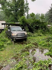 The Wednesday night storm that passed through Rapides Parish left damage in the Elmer area, like this in the La. Highway 112 area.