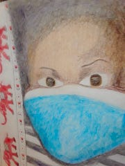 "A drawing in pencil of a child wearing a ""COVID-19 mask"" by Abilene resident Sylvia Richie."