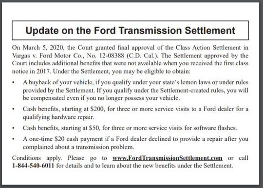 Ford Focus, Fiesta owners getting postcards in the mail this month from class-action law firm.