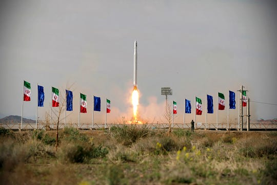 In this photo released Wednesday, April 22, 2020, by Sepahnews, an Iranian rocket carrying a satellite is launched. Iran's Revolutionary Guard said Wednesday it put the Islamic Republic's first military satellite into orbit, dramatically unveiling what experts described as a secret space program with a surprise launch that came amid wider tensions with the United States.