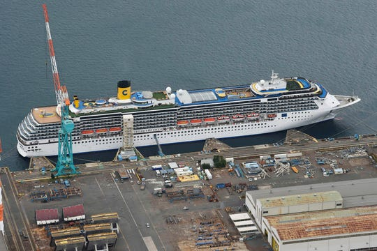 Italian-operated cruise ship the Costa Atlantica is anchored at a port in Nagasaki, southern Japan, Thursday, April 23, 2020.