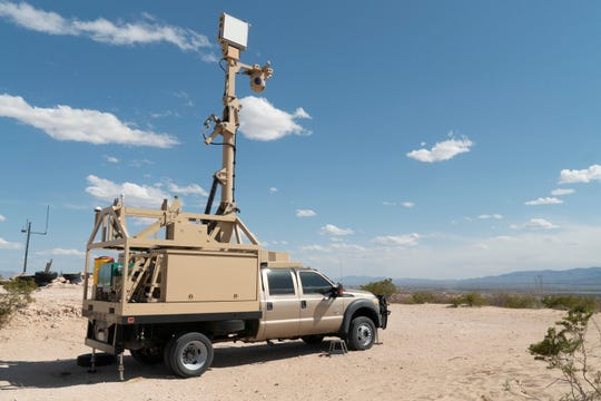 In this April 4, 2019 photo, provided by the U.S. Army, a mobile surveillance camera system is stationed near the Fort Hancock Border Patrol Station at Fort Hancock, Texas.