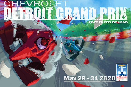 Everett Robinson II of Detroit designed the winning poster for the 2020 Belle Isle Grand Prix.