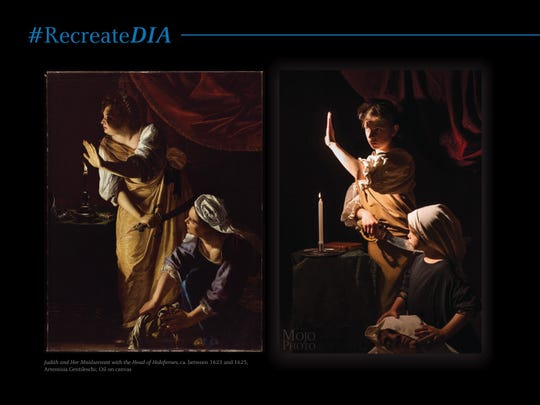 """Photographer Melissa Arondoski recruited her daughters, 10 and 6, in this recreation of Artemesia Gentileschi's """"Judith and Her Maidservant with the Head of Holofernes"""" at the DIA as part of the #RecreateDIA campaign."""