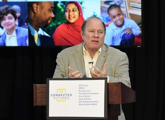 Mayor Mike Duggan talks about a plan to place a computer with high-speed LTE internet connection into the hands of every Detroit Public Schools Community District K-12 student by the end of the school year.
