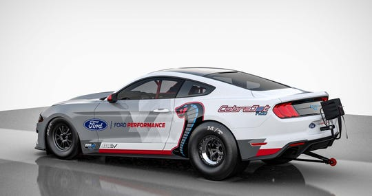 The Ford Mustang Cobra Jet EV 1400 will do the 1/4 mile in just over eight seconds.