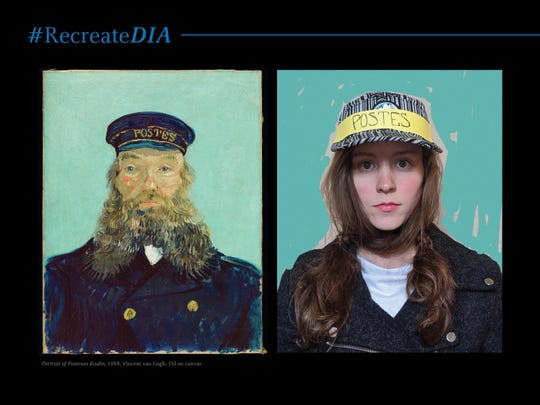 """Van Gogh's """"Portrait of Postman Roulain"""" at the Detroit Institute of Arts gets a modern makeover as part of the #RecreateDIA projectd."""