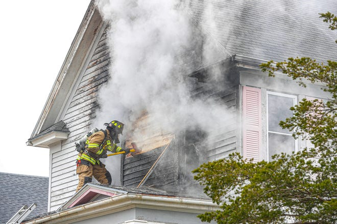 City of Fond du Lac Fire/Rescue members battle a house fire Wednesday, April 23, 2020 on 7th Street just east of Main Street in Fond du Lac, Wis. Doug Raflik/USA Today NETWORK-Wisconsin