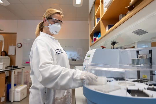 Laboratory technician Sara Watson processes samples at Colorado State University's Veterinary Diagnostic Laboratory on April 13, 2020.