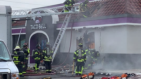 Plumbers working on pipes inside the Taco Bell on Daniels Parkway Thursday accidentally sparked a fire. There were no injuries.