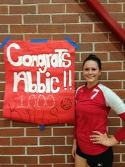 Abbie O'Ferrell after recording her 1,000th career kill at LaBelle.