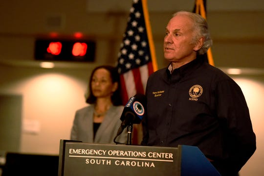 South Carolina Gov. Henry McMaster speaks during a briefing on COVID-19 on Monday, April 20, 2020, in West Columbia, S.C. (AP Photo/Meg Kinnard)