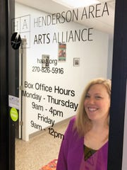 The Henderson Area Arts Alliance office in Downtown Henderson used to be open 4 1/2 days a week for visitors and ticket buyers. But with the pandemic, new Executive Director Natalie Singer works from behind a locked door, if not from home. HAAA is working to reschedule two stage shows that were to take place during the hunker-at-home period. (Photo by Chuck Stinnett)
