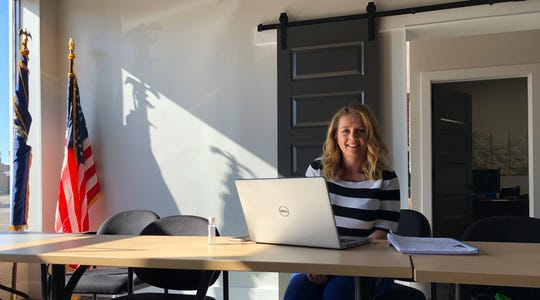 A lot of new Henderson Economic Development Executive Director Missy Vanderpool's meetings take place online, although she does conduct them in the meeting room at her organization's new office at 207 N. Elm St. Hand sanitizer is close at hand.