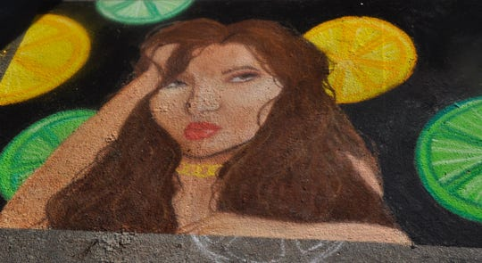 A portrait by Mary Ward was one of the winners of the virtual Dogwood Arts Chalk (Your) Walk Competition. April 2020.