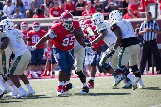 East Lansing grad Heath Williams (95) capped his college career at Saginaw Valley by being named the GLIAC defensive lineman of the year. He ranks third in program history with 22.5 career sacks.