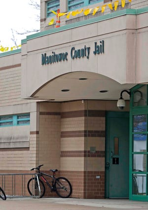 The entrance to the Manitowoc County Jail as seen, Thursday, April 23, 2020, in Manitowoc, Wis.