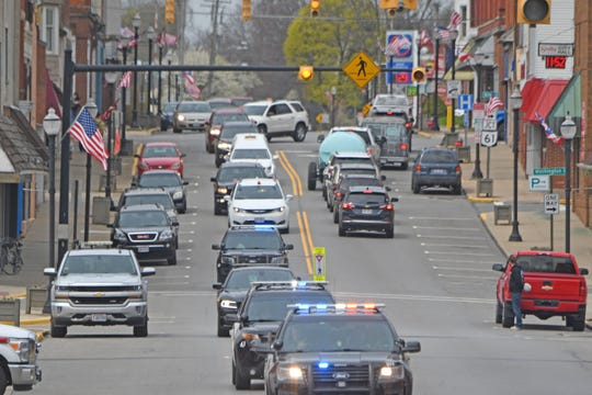 The funeral procession for Sgt. Thomas Jacob Truex passed through downtown Shelby on Thursday morning.