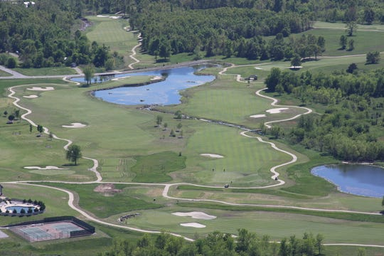 An aerial view of Big Creek Golf & Country Club, which celebrates its 20th anniversary this month. Holes No. 10 and 11 are pictured at left.
