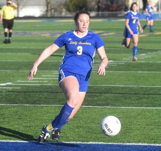 Mountain Home's Lauren Helmert in action against Greene County Tech earlier this season at Bomber Stadium.