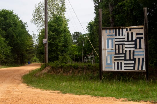 Gee's Bend quilt patterns are displayed in Boykin, Ala., on Wednesday, April 22, 2020.