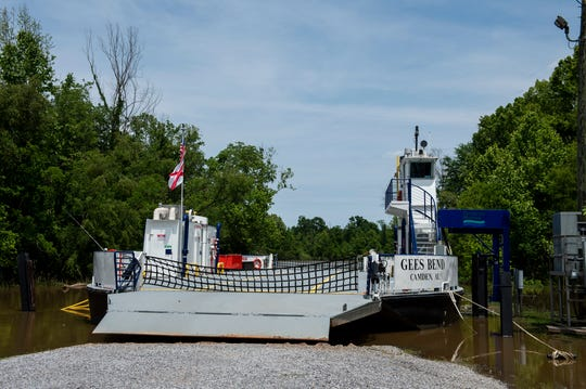The Gee's Bend Ferry parked because of high tide in Camden, Ala., on Wednesday, April 22, 2020.