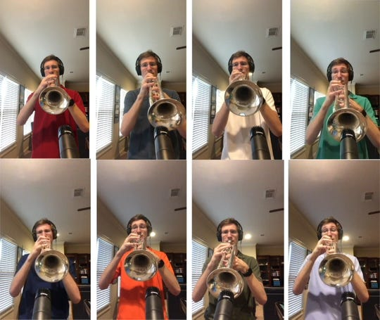 Montgomery Catholic senior Theo Hornsby, a trumpet player, recorded a video where he performed all 8 parts of a trumpet octet, Infinite Ascent by Erik Morales.