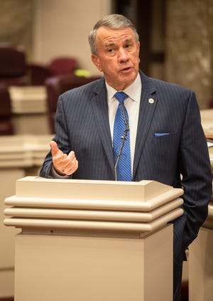 Alabama Speaker of the House Mac McCutcheon speaks during a press conference at the Alabama State House in Montgomery, Ala., on Thursday, April 23, 2020.