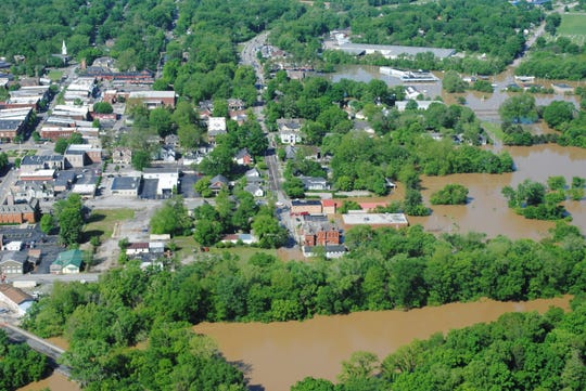 Aerial shot of downtown Franklin on May 2, 2010.