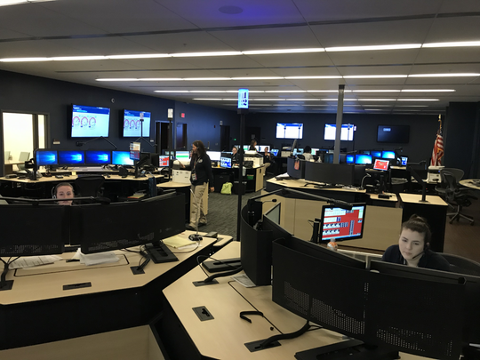 Katana and Jessica Adcock work in the Williamson County emergency operations 911-call center in the Public Safety building, which opened in 2016.