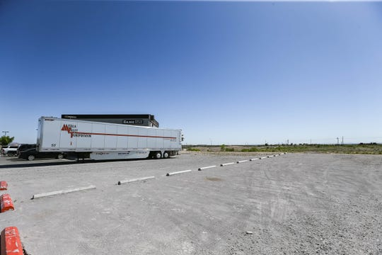 Trailers are set up as a makeshift drive-in theater at The Game II in Las Cruces on Thursday, April 23, 2020.
