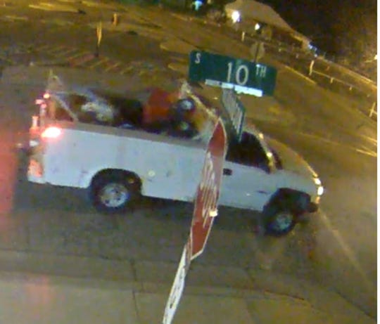 A surveillance photograph shows a maintenance pickup belonging to the Artesia Public Schools allegedly stolen on April 22,2020 from the maintenance yard.