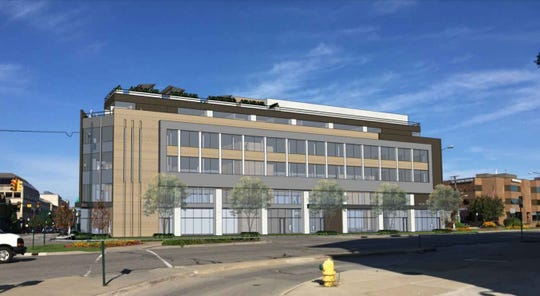 A rendering of the proposed five-story building at Woodward Avenue and Maple.