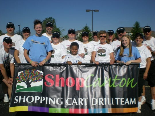Kathleen Salla, front row second from right, helped develop the Shopping Cart Drill Team as part of Shop Canton.