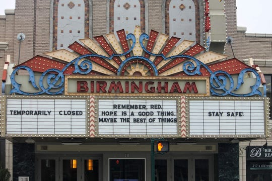 """The Birmingham 8 movie theater quotes """"The Shawshank Redemption"""" on its marquee."""