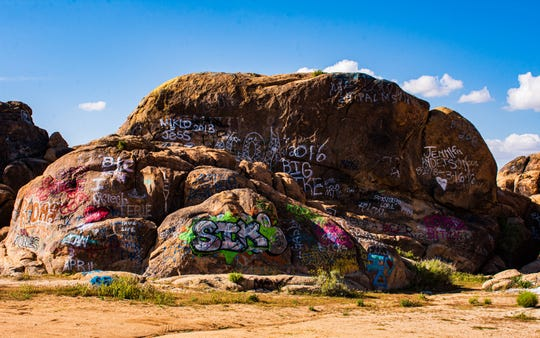 Vandalized rock formations in Johnson Valley, Calif. on April 18, 2020.