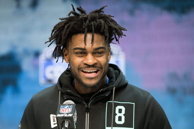 Feb 28, 2020; Indianapolis, Indiana, USA;  Alabama defensive back Trevon Diggs (DB08) speaks to the media during the 2020 NFL Combine in the Indianapolis Convention Center. Mandatory Credit: Trevor Ruszkowski-USA TODAY Sports