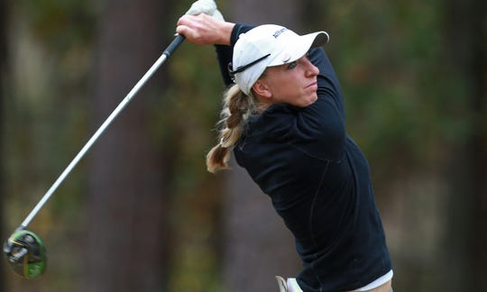 Sophia Popov of Germany plays a shot during the LPGA Q-Series presented by Blue Cross and Blue Shield North Carolina at Pinehurst No. 9 on October 31, 2019 in Pinehurst, North Carolina.