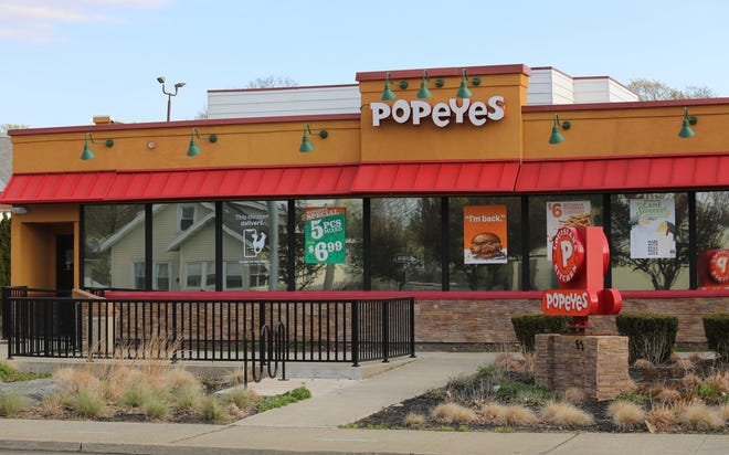 A view of the exterior of Popeyes on Haight Avenue in the Town of Poughkeepsie after a Wednesday night kitchen fire as seen on Thursday, April 23, 2020.