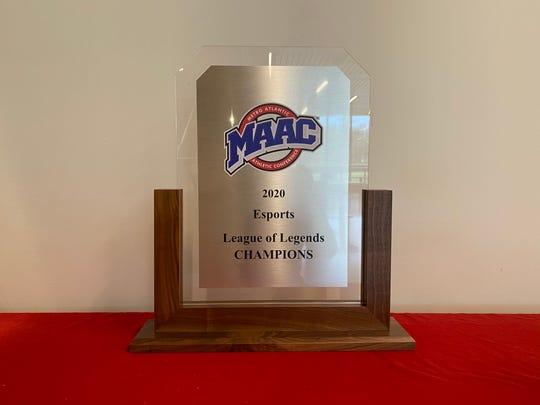 Marist College's Metro Atlantic Athletic Conference Esports League of Legends trophy