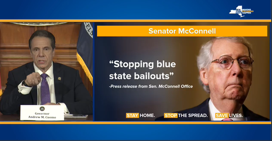 Gov. Andrew Cuomo showed slides of quotes of Senate Majority Leader Mitch McConnell on April 23, 2020, as he bashed the Kentucky senator for not supporting a state bailout for states.