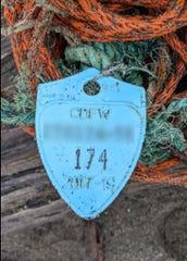 Crab buoy tag found in Washington.