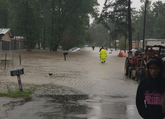 Flooding on Grove Street In Mansfield on Wednesday, April 22, 2020.