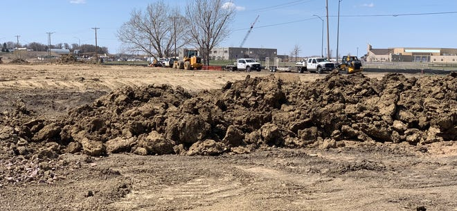 The dirt work has begun on the new Brandon Valley elementary school at 41st Street and Sparta Avenue in extreme eastern Sioux Falls. The new Sioux Falls middle school is in the background.