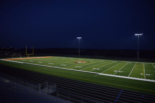 The Tech Tigers lit up the football on Wednesday, April 22, 2020 at Tech High School as part of the #BeTheLight movement around the state of Minnesota.