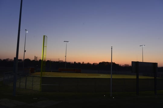 The Tech softball field was lit for 20 minutes on Wednesday, April 22, 2020 at Tech High School as the Tigers joined #BeTheLight movement along with many other high schools in the state.