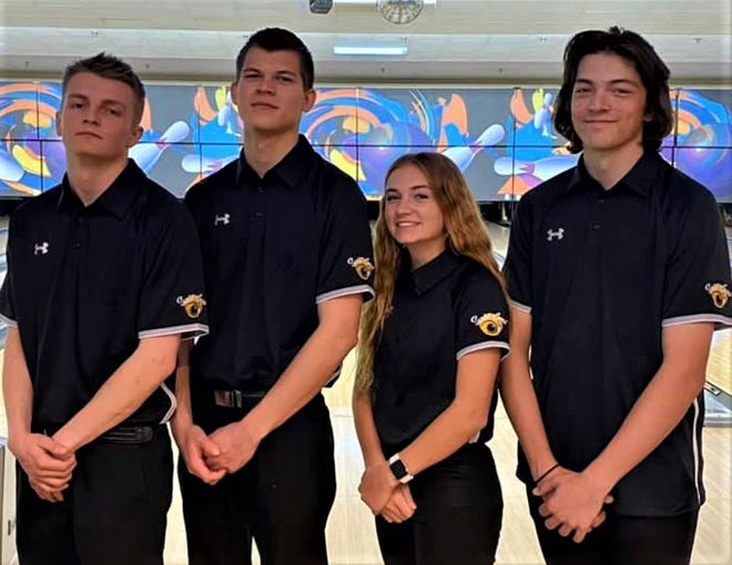 From left to right, Brady Sampson, Jack Sandberg, Mackenzie Telford and Merick Johnson seventh in the 2020 Utah State Youth Bowling Tournament.