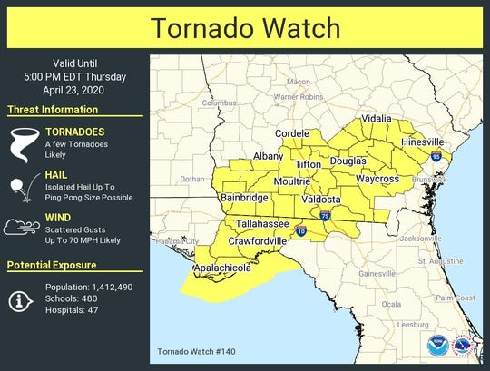 Much of the Big Bend is under a tornado watch until 5 p.m. today.