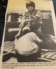 Mary Pelosi Killer in 1975 when she won a surf fishing tournament by catching a 163-pound lemon shark on Hutchinson Island.
